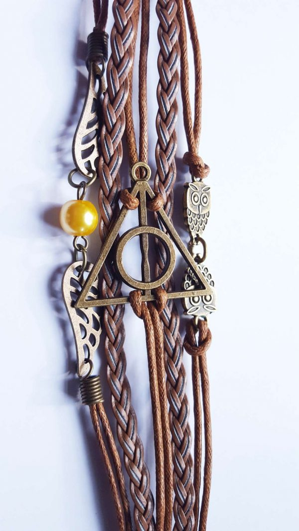 Deathly Hallows / Relieken van de Dood combi armband bruin