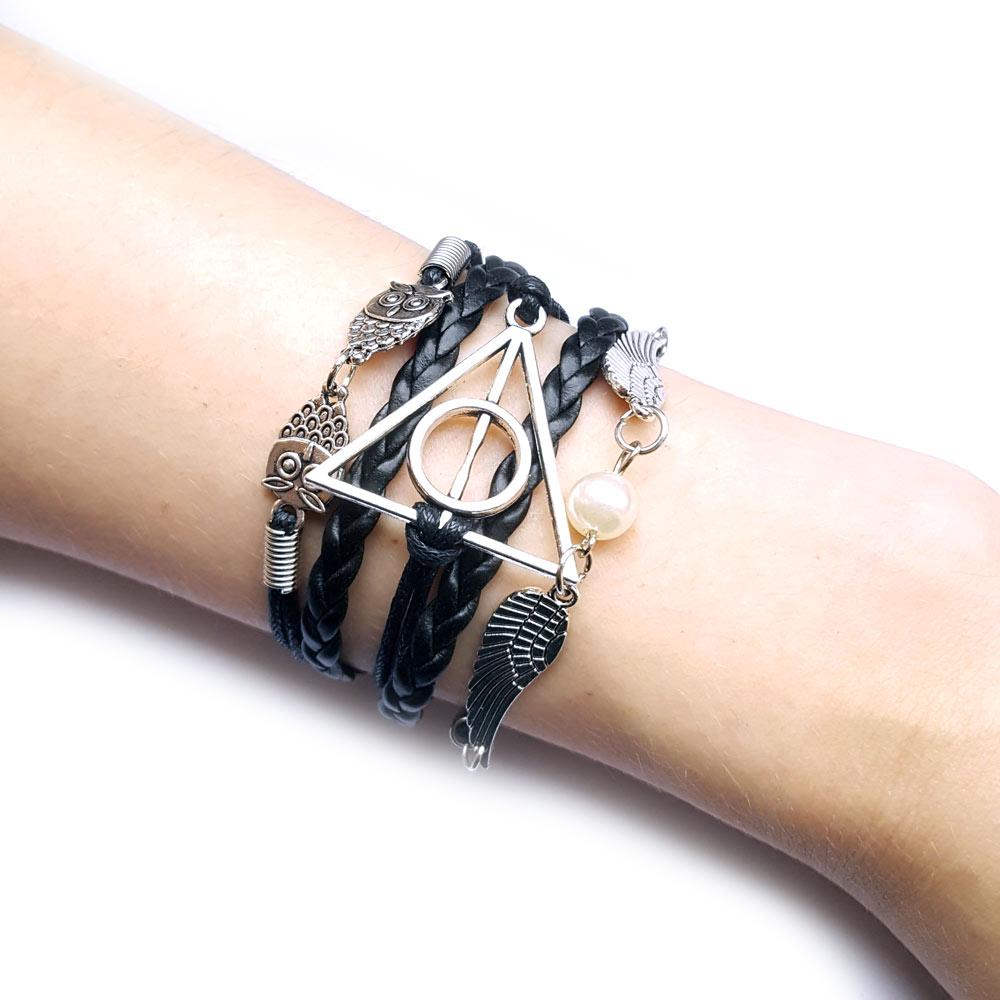 Afbeelding van Deathly Hallows / Relieken van de Dood combi armband zwart