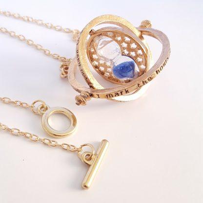 Timeturner ketting goud met blauw zand