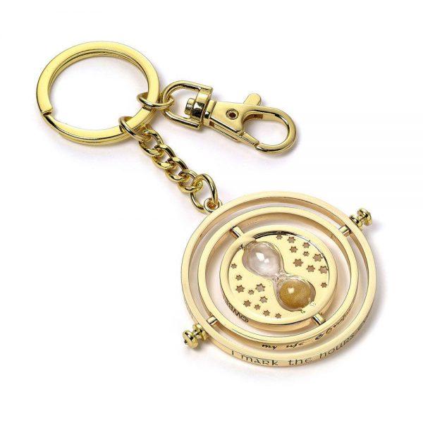 Timeturner sleutelhanger (goud) (zilver plated)